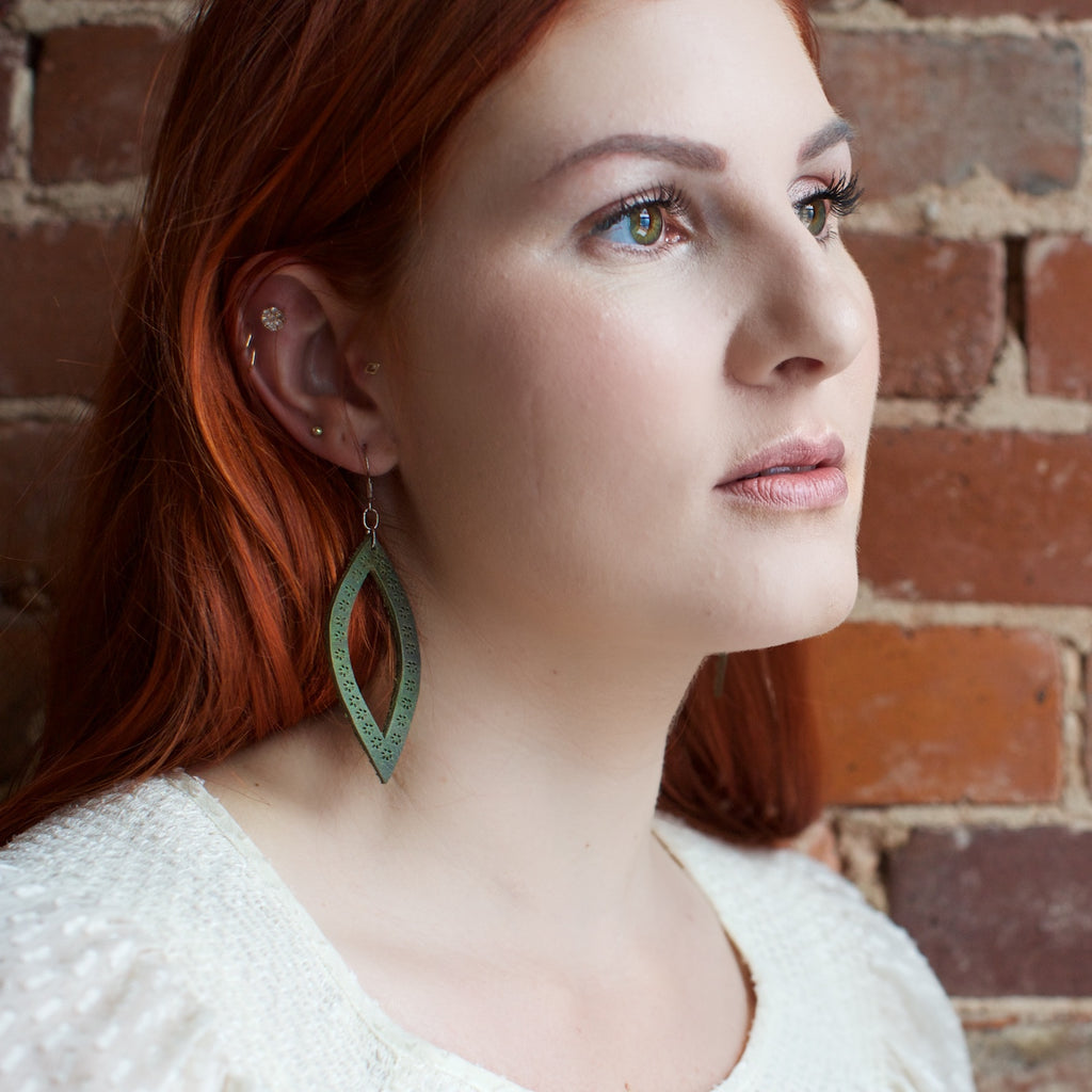 Lucia's World Emporium Handmade Fair Trade Guatemalan Oval Leather Earrings