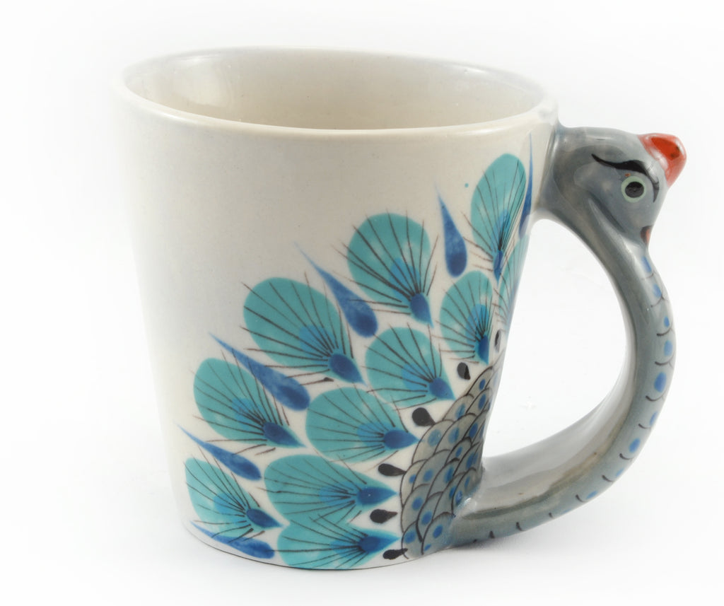 Fair Trade Handmade Guatemalan Ceramic Pavo Real Peacock Coffee Mug