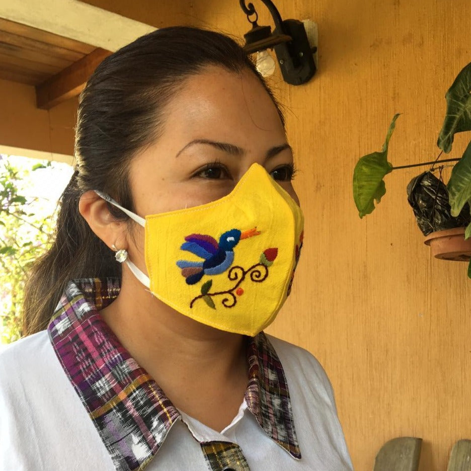 Fair Trade Embroidered Face Mask 100% cotton embroidered Face Mask microfiber lining. Washable