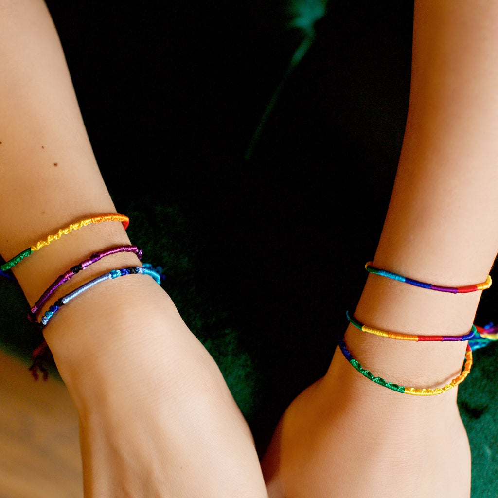 Lucia's World Emporium Fair Trade Handmade Round Silk Friendship Bracelets from Guatemala