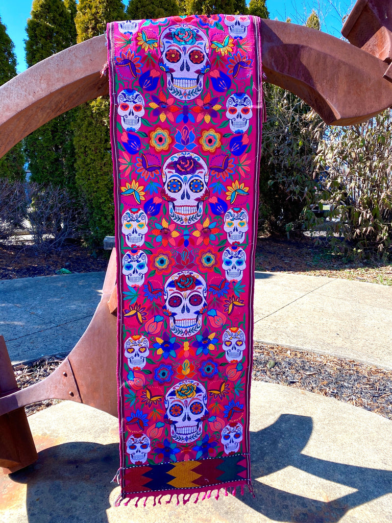 skeleton table runner mayan made mayan home decor guatemalan artisan made home accessories day of the dead skeleton