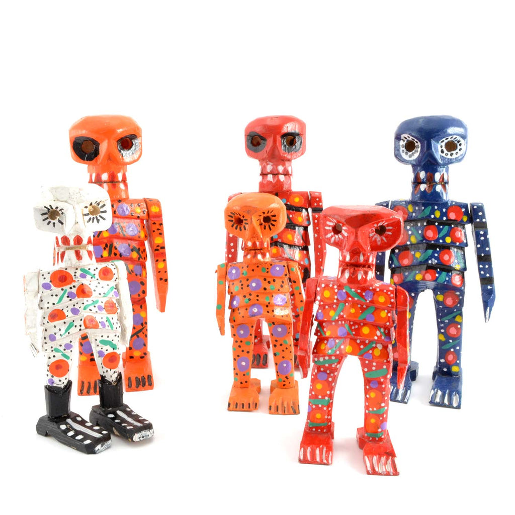 fair trade wooden skeleton day of the dead