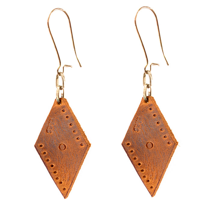 Lucia's World Emporium Fair Trade Handmade Guatemalan Small Leather Earrings