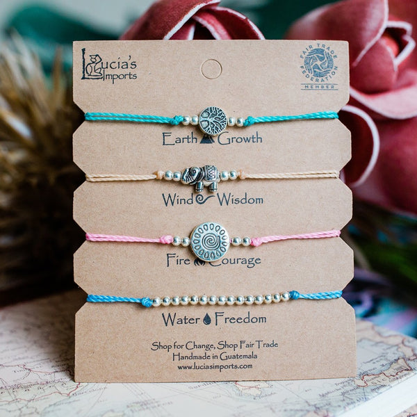 Fair Trade String Bracelets from Guatemala, Tree of life, Elephant, Sun, Silver beads