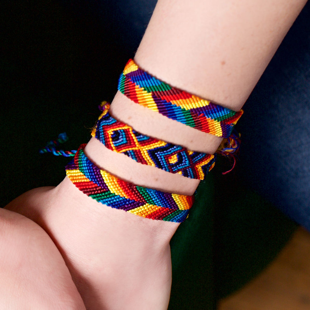 Lucia's World Emporium Fair Trade Handmade Wide Silk Rainbow Friendship Bracelet from Guatemala