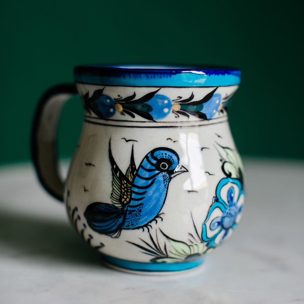 Fair Trade Handmade Guatemalan Hand Painted Wild Bird Coffee Mug