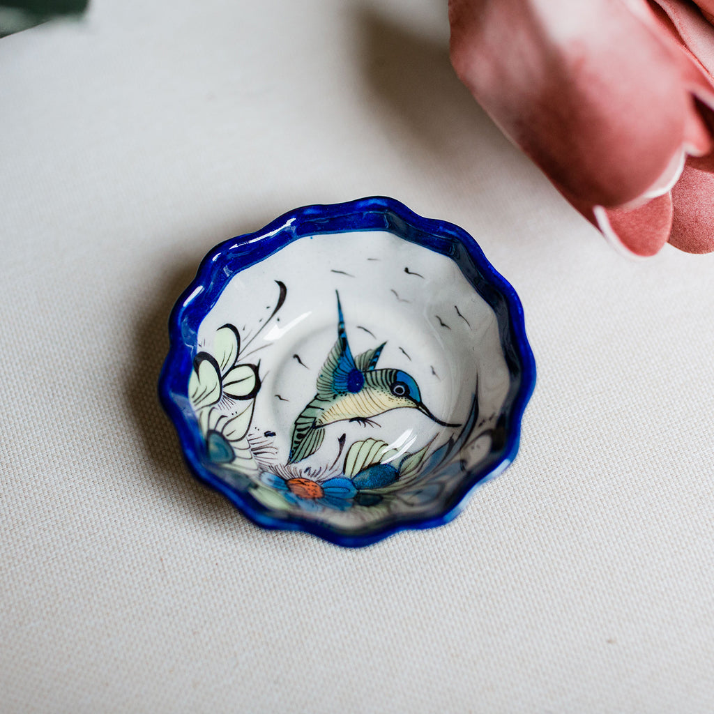 fair trade handmade kitchen accessories gifts for the home shower wedding gift wild bird hand painted jewelry tray earring holder tapas dish wild bird ceramics ethically made
