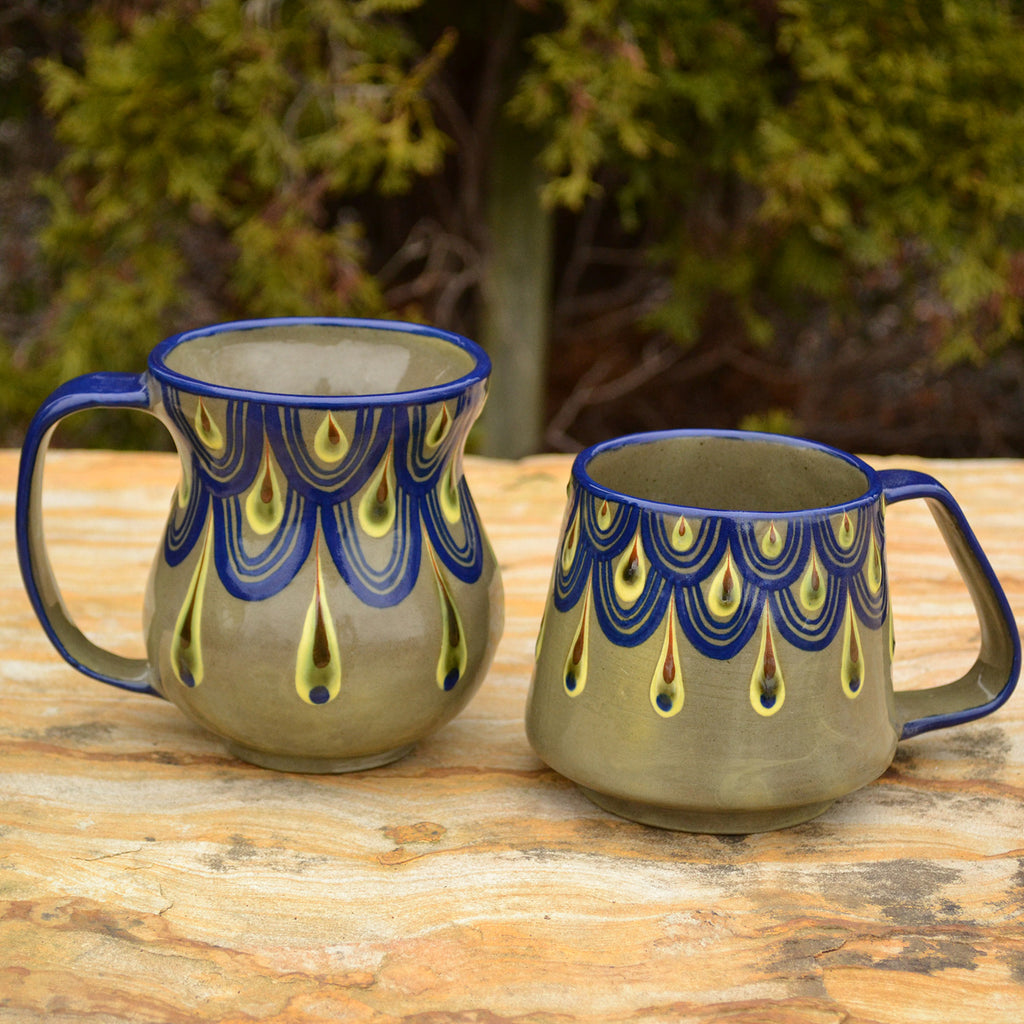 Lucia's World Emporium Fair Trade Handmade Guatemalan Ceramic Raindrop Beer Mug