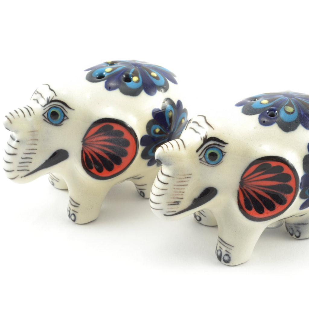 Lucia's World Emporium Fair Trade Handmade Guatemalan Ceramic Elephant Salt and Pepper Shakers