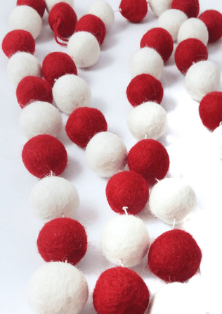Holiday Red and White Garland