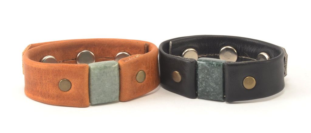 Lucia's World Emporium Fair Trade Handmade Guatemalan Jade & Leather Rectangle Bracelet
