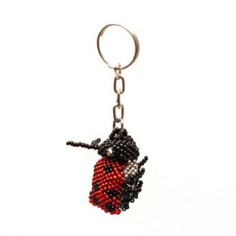 Hand-beaded lady bug key chain handmade in guatemala