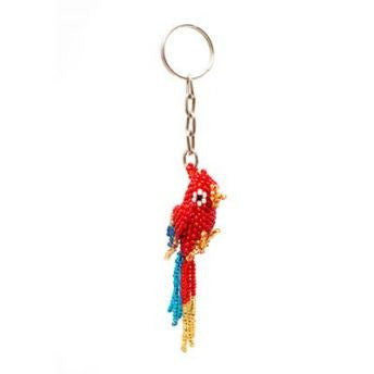 beaded parrot key chain
