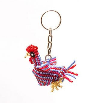 hand-beaded rooster key chain handmade in Guatemala