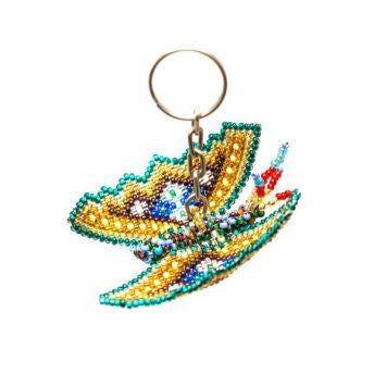 Guatemalan handmade beaded butterfly key chain