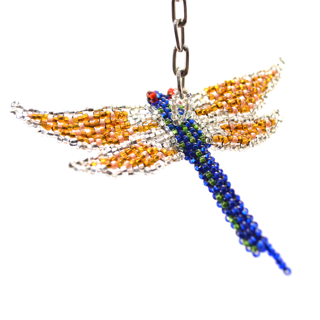 beaded dragonfly keychain blue body yellow wing