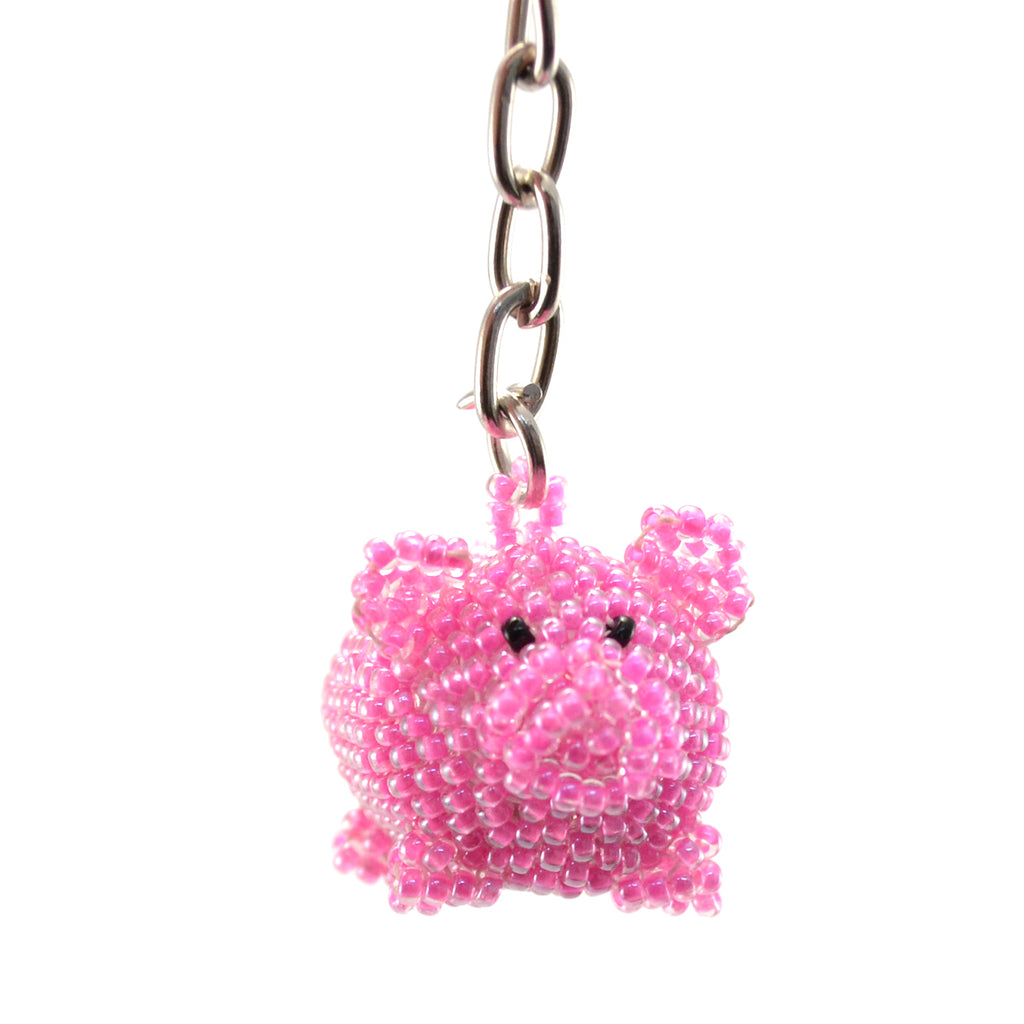 Beaded Pig Keychain