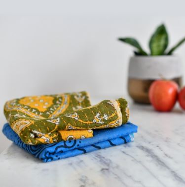 kantha stiched dish towels green blue