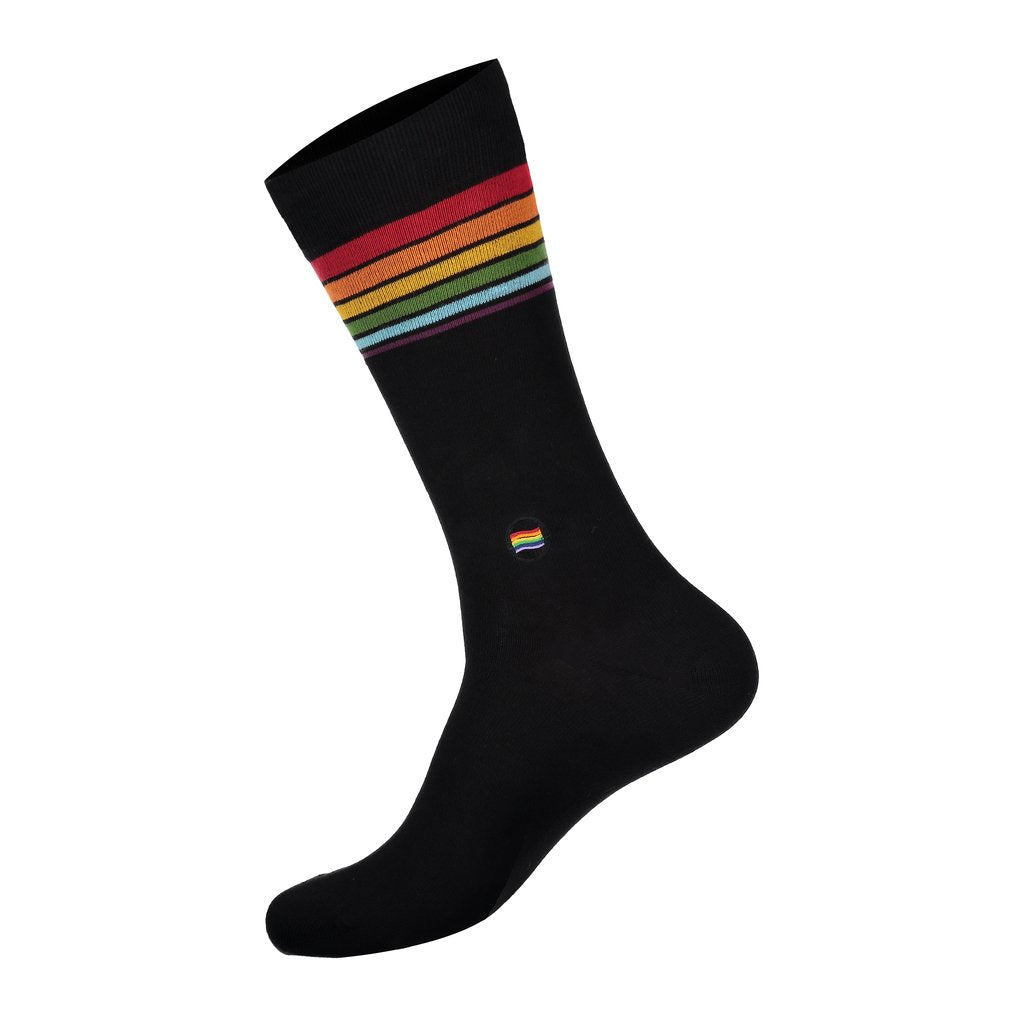 Rainbow black socks that save LGBTQ Youth suicide prevention conscious step Made in India 75% Organic Cotton, 23% Polyamide, 2% Spandex Fairtrade, GOTS, and Vegan Certified Seamless Toe