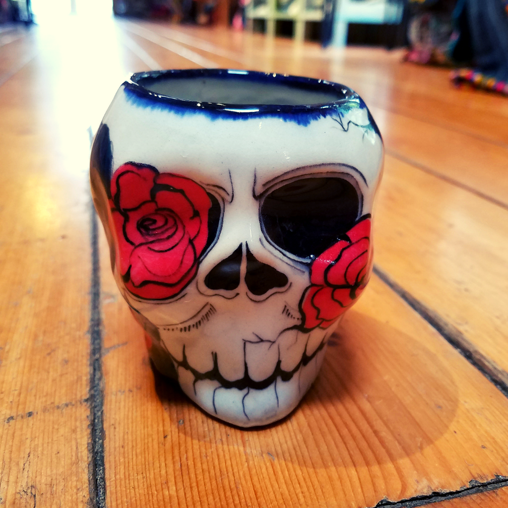 Lucia's World Emporium Fair Trade & Handmade Ceramic Sugar Skull Mug with Rose Design from Guatemala