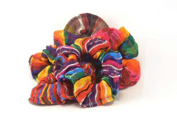 Fair Trade Guatemalan Rainbow Scarf Scrunchies