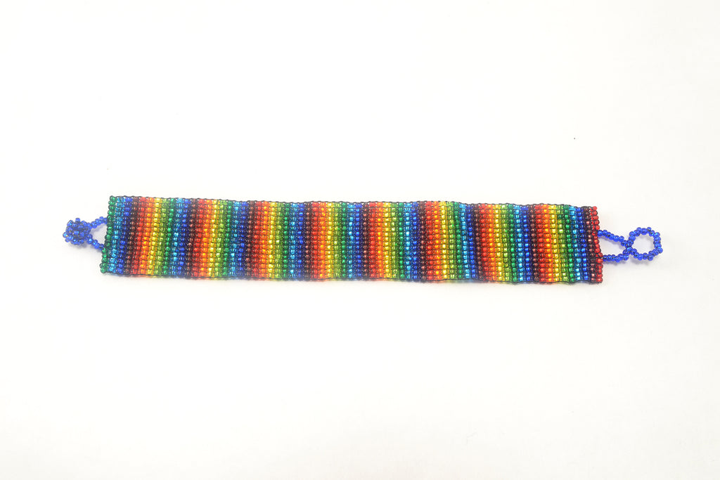 Lucia's World Emporium Fair Trade Handmade Guatemalan Beaded Medium Friendship Bracelet in Rainbow
