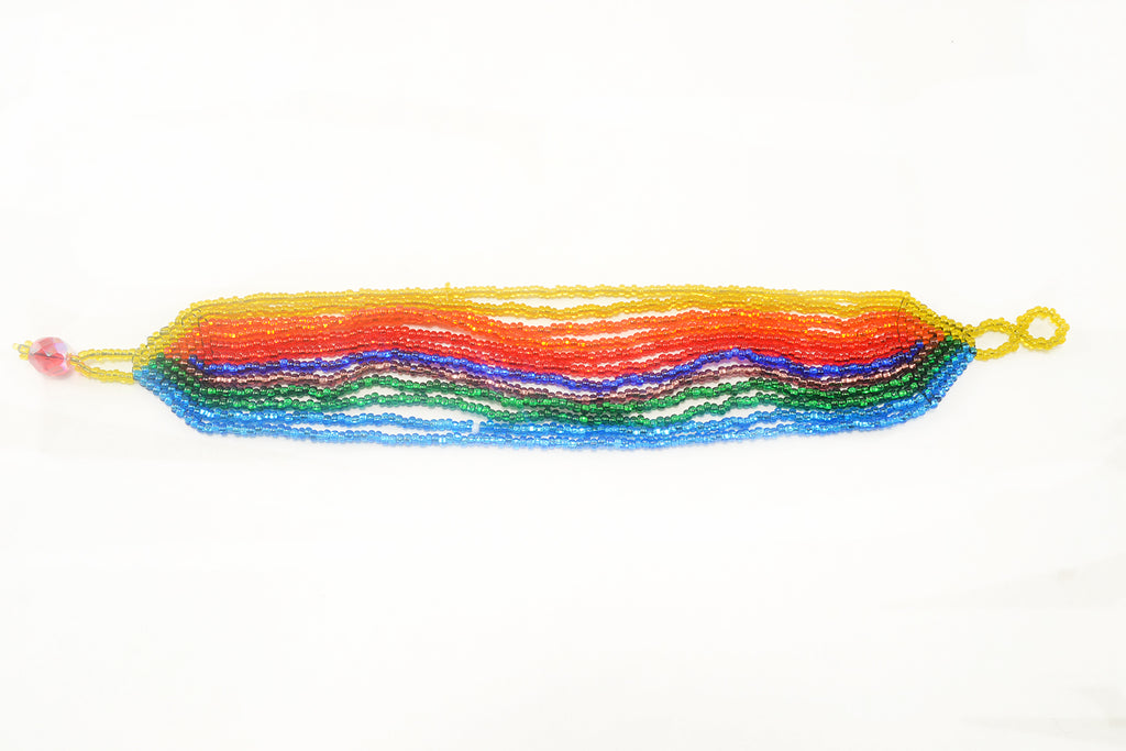 Lucia's World Emporium Fair Trade Handmade Guatemalan Beaded Rainbow 12 Strand Bracelet
