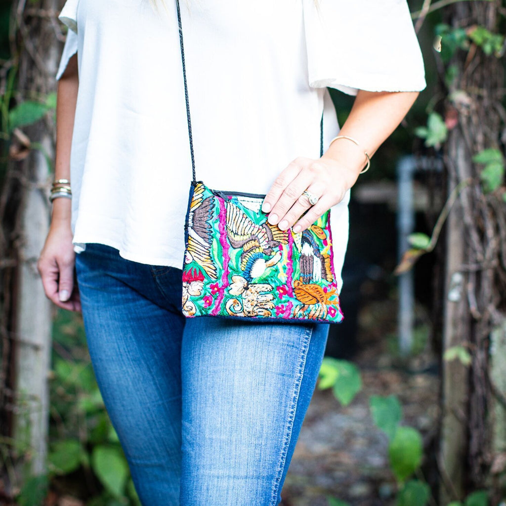 Lucia's World Emporium Fair Trade Handmade Embroidered Flower Passport Purse from Guatemala