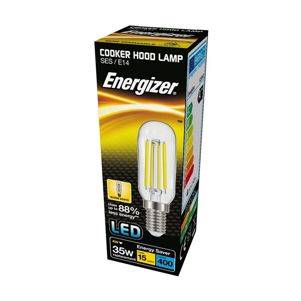 S13563 ENERGIZER FILAMENT LED COOKER HOOD 420LM 3.8W E14 (SES) WARM WHITE, PACK OF 1 - Electrobright Ltd