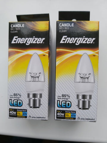 S8852 ENERGIZER LED CANDLE 470LM 5.9W CLEAR B22 (BC) WARM WHITE, PACK OF 2 - Electrobright Ltd