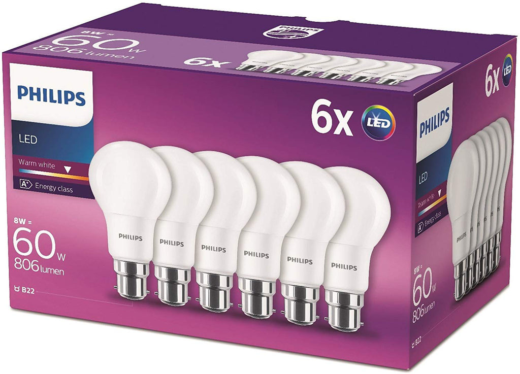 Philips LED B22 Frosted Light Bulbs, 8 W (60 W) - Warm White, Pack of 6 - Electrobright Ltd