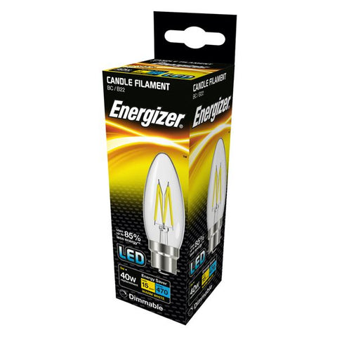 2 X S12855 ENERGIZER FILAMENT LED CANDLE 470LM 5W B22 (BC) WARM WHITE DIMMABLE - Electrobright Ltd