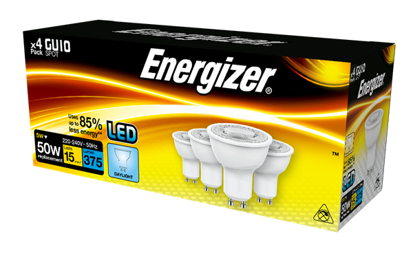 S14426 ENERGIZER LED GU10 375LM 5W 50° DAYLIGHT, PACK OF 4 - Electrobright Ltd