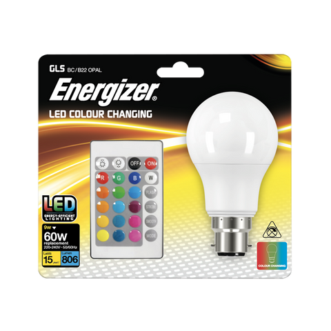 1 X S14543 ENERGIZER COLOUR CHANGING B22 GLS LED RGB+W, WITH REMOTE CONTROL - Electrobright Ltd
