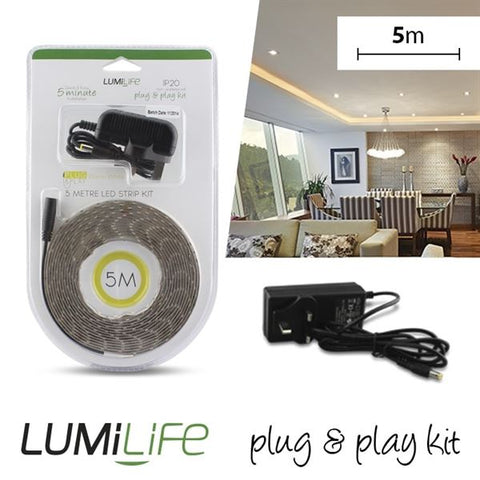1 x S16326 LUMILIFE LED FLEXI STRIP KIT - 5M - NON-WATERPROOF - WARM WHITE PLUG AND PLAY - Electrobright Ltd