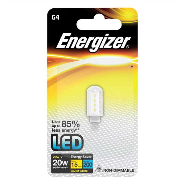 S8099 ENERGIZER HIGH TECH LED G4 200LM 2.2W WARM WHITE , PACK OF 1 - Electrobright Ltd