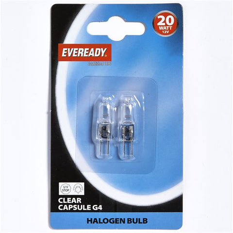 S808 EVEREADY HALOGEN G4 20W 12V CLEAR CAPSULE, PACK OF 2
