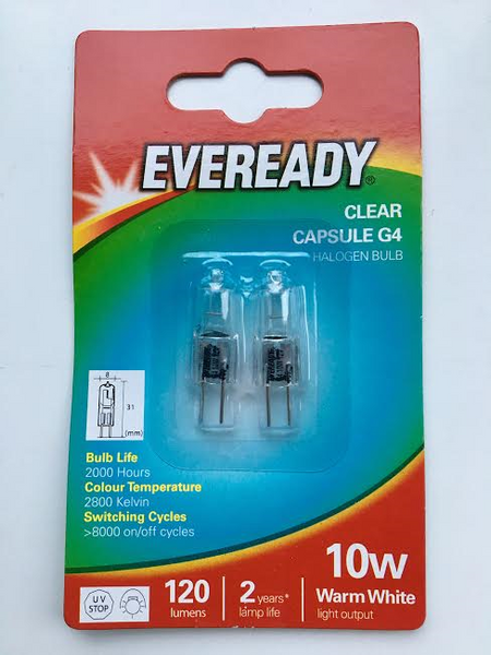 Eveready G4 10w Halogen bulbs Twin Pack - Electrobright Ltd