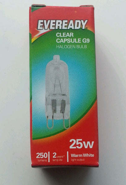 10 x Eveready G9 25W or 40w Halogen Warm White Dimmable Halogen Clear Capsule bulbs - Electrobright Ltd