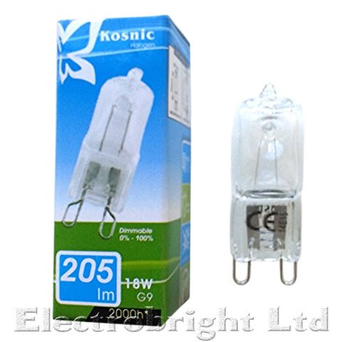 "1 x Kosnic Eco Halogen G9 (18w,25w,42w) Dimmable Energy saving ""Long Life""  light bulbs - Electrobright Ltd"