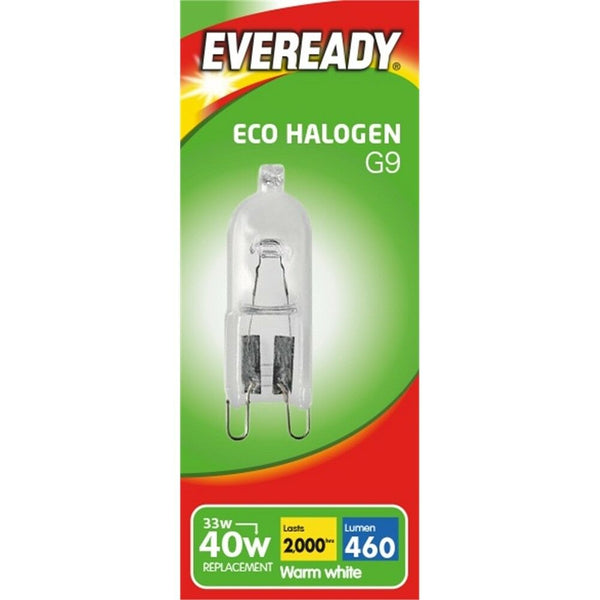 Eveready G9 33W=40W Eco Halogen light bulbs - 20 Bulb pack - Electrobright Ltd