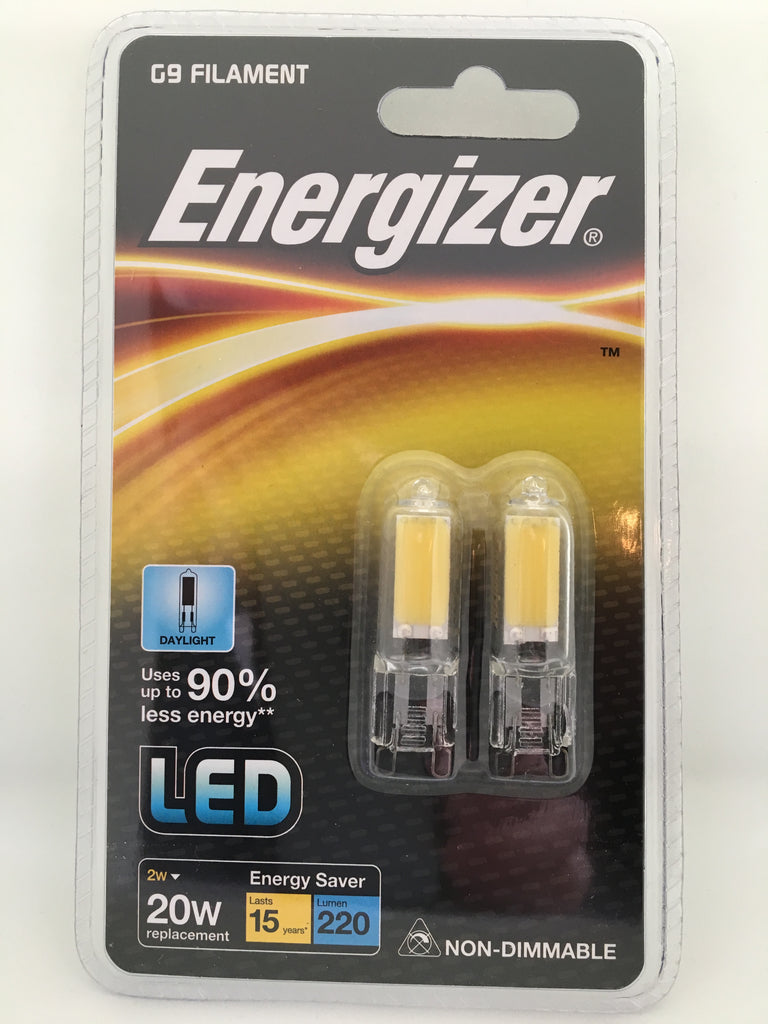 2 x Energizer G9 LED FILAMENT 2W=20W DAYLIGHT LIGHT BULBS TWIN PACK Non Dimmable - Electrobright Ltd