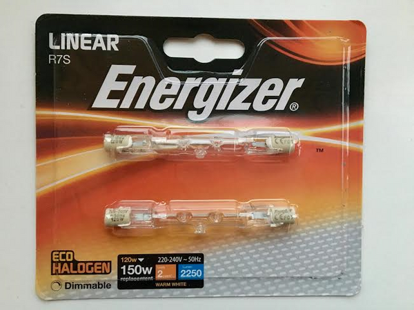 2 ENERGIZER R7 Linear 120w=150w 78MM Eco Halogen Dimmable Warm White Bulbs - Electrobright Ltd
