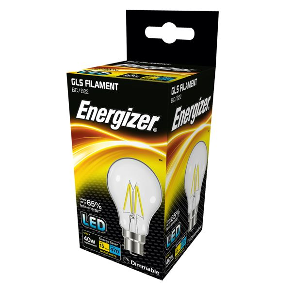 2 x S12849 ENERGIZER FILAMENT LED GLS 470LM 4.5W B22 (BC) WARM WHITE DIMMABLE - Electrobright Ltd