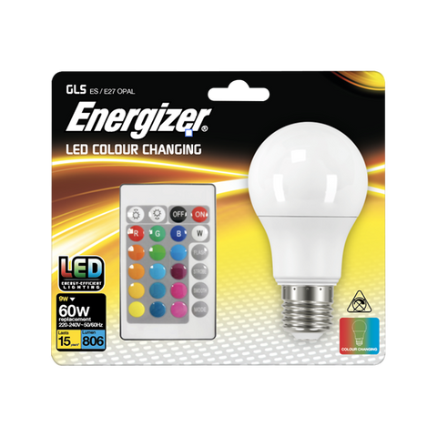 1 X S14542 ENERGIZER COLOUR CHANGING E27 GLS LED RGB+W WITH REMOTE CONTROL - Electrobright Ltd