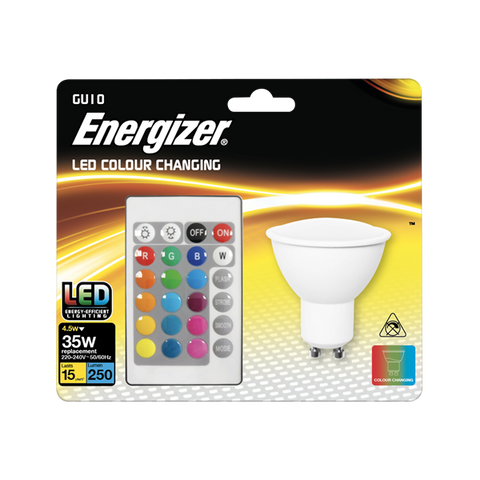 1 x S14544 ENERGIZER COLOUR CHANGING GU10 LED RGB+W WITH REMOTE CONTROL - Electrobright Ltd