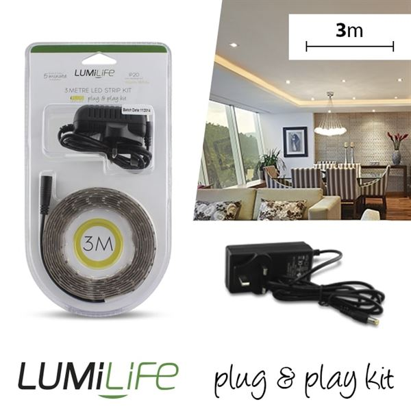S16323 LUMILIFE LED FLEXI STRIP KIT - 3M - NON-WATERPROOF - WARM WHITE - Electrobright Ltd