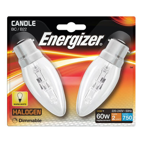 2 x S5963 ENERGIZER ECO B22 (BC) CANDLE 48W(60W) DIMMABLE (1 Twin Pack) - Electrobright Ltd