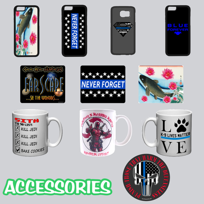 blueunicoin mugs, mouse pads, phone cases