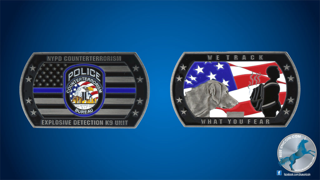 NYPD Counterterrorism K9 Unit challenge coin Silver